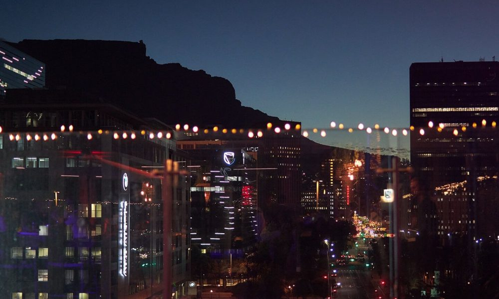 The view of table Mountain from atop the CTICC's the Mountain View Terrace as it stretches down Cape Town's Adderley Street.